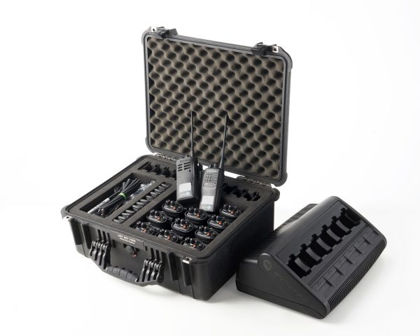 Motorola GP340 Radio Case & 6 Dock Multicharger