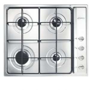 Stainless Steel 4-Burner Hob (side controls) -0