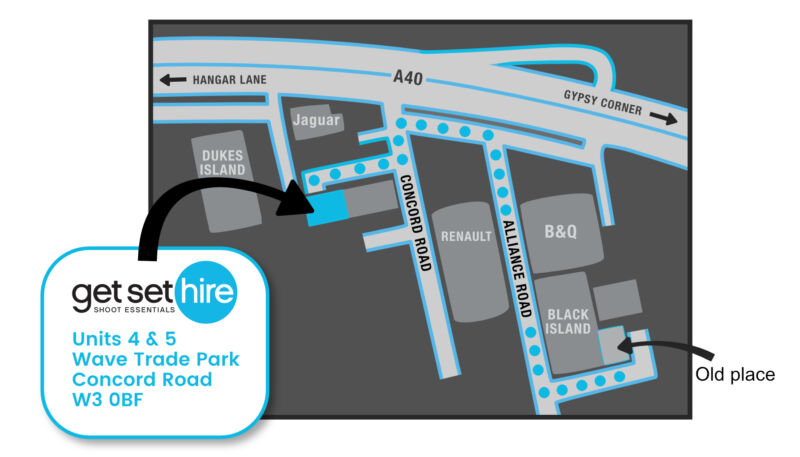 Map showing Get Set Hire's new office location